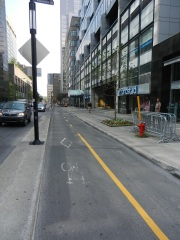 Divided bike lane in downtown Montreal